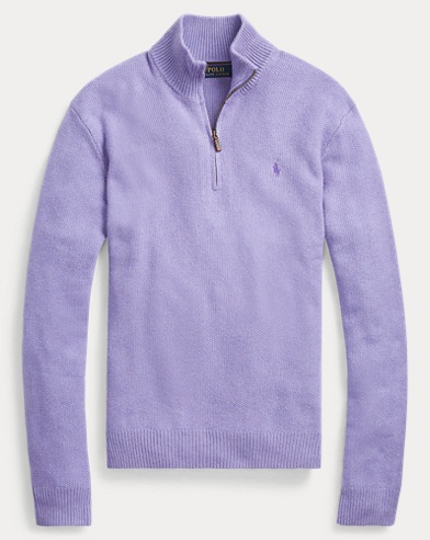 폴로 랄프로렌 맨 터서 실크 하프짚 스웨터 - 퍼플 Polo Ralph Lauren Tussah Silk Half-Zip Sweater,Maidstone Purple Heather
