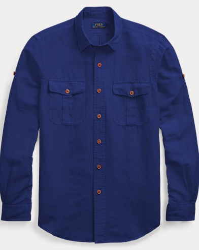 폴로 랄프로렌 Polo Ralph Lauren Classic Fit Linen-Blend Shirt,Holiday Navy