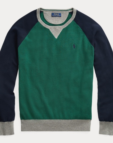 폴로 랄프로렌 Polo Ralph Lauren Color-Blocked Cotton Sweater,Forest/Navy/Grey Heather