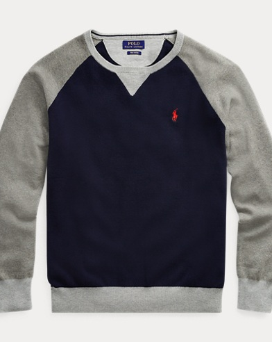 폴로 랄프로렌 Polo Ralph Lauren Color-Blocked Cotton Sweater,Navy/Grey Multi