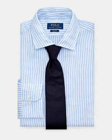 폴로 랄프로렌 셔츠 Polo Ralph Lauren Slim Fit Striped Linen Shirt,Blue/White