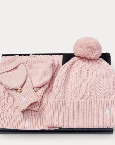 폴로 랄프로렌 걸즈 겨울 악세서리 3종 선물 세트 Polo Ralph Lauren Hat & Mittens 3-Piece Gift Set,Multi