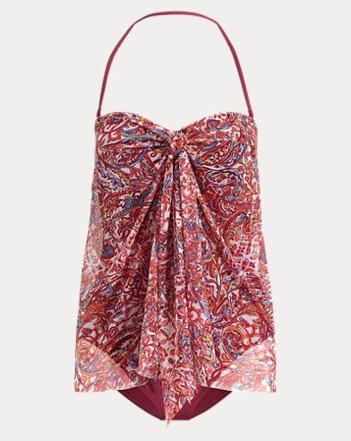 폴로 랄프로렌 Polo Ralph Lauren Convertible Paisley Swimsuit,Plum