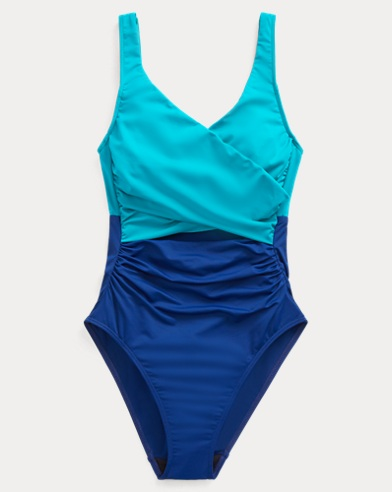 폴로 랄프로렌 Polo Ralph Lauren Slimming Color-Block One-Piece,Sapphire/Jade
