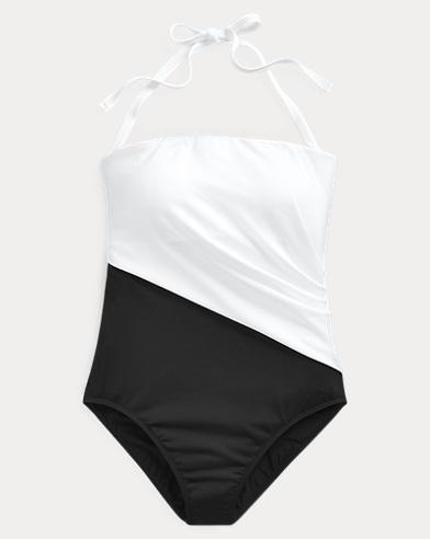 폴로 랄프로렌 Polo Ralph Lauren Bandeau One-Piece Swimsuit,Black/White