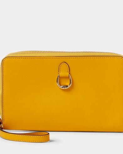 폴로 랄프로렌 Polo Ralph Lauren Double-Zip Leather Wristlet,Sunflower