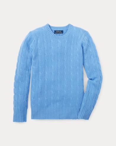 폴로 랄프로렌 보이즈 꽈배기 캐시미어 스웨터 블루 Polo Ralph Lauren Cable-Knit Cashmere Sweater,New Litchfield