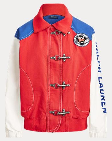폴로 랄프로렌 Polo Ralph Lauren Color-Blocked Canvas Jacket,Indn Orange/Antq Crm/Sphr