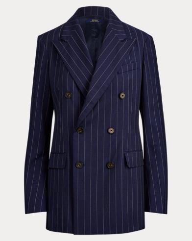 폴로 랄프로렌 Polo Ralph Lauren Double-Breasted Wool Blazer,Navy/Cream Pinstripe