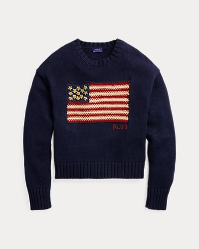 [NEW] 폴로 랄프로렌 우먼 '별 장식' 성조기 스웨터 Polo Ralph Lauren Beaded Flag Cotton Sweater,Navy Multi