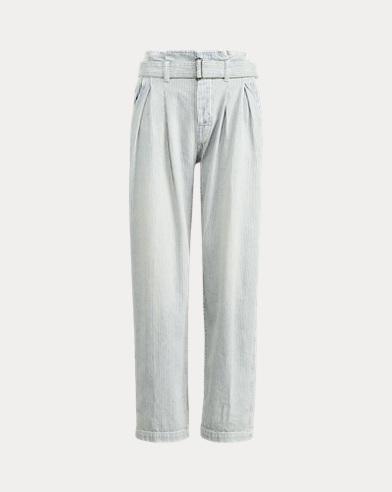 폴로 랄프로렌 Polo Ralph Lauren Belted Striped Paperbag Jean,Railroad Stripe
