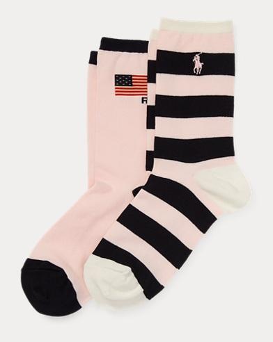 폴로 랄프로렌 핑크 포니 양말 2팩 Polo Ralph Lauren Pink Pony Sock 2-Pack,Pink