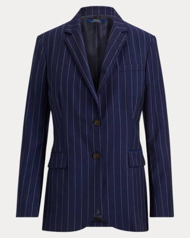 폴로 랄프로렌 Polo Ralph Lauren Pinstripe Wool Blazer,Navy/Cream Pinstripe