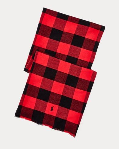 폴로 랄프로렌 Polo Ralph Lauren Buffalo Check Cotton Scarf,New Red/Black
