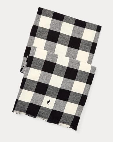 폴로 랄프로렌 Polo Ralph Lauren Buffalo Check Cotton Scarf,Black/Cream