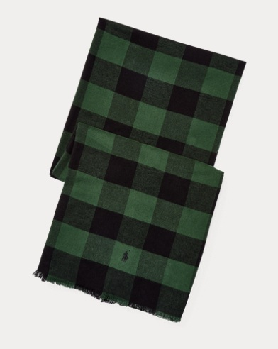폴로 랄프로렌 Polo Ralph Lauren Buffalo Check Cotton Scarf,Green/Black
