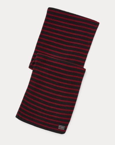 폴로 랄프로렌 Polo Ralph Lauren Striped Wool-Blend Scarf,Black/Wine