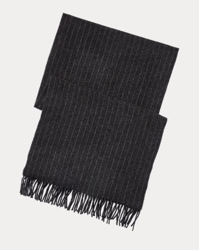 폴로 랄프로렌 Polo Ralph Lauren Chalk-Stripe Scarf,Charcoal/Lt Grey Hthr