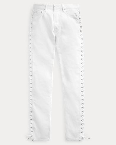 폴로 랄프로렌 Polo Ralph Lauren Lace-Up Callen High-Rise Slim,White