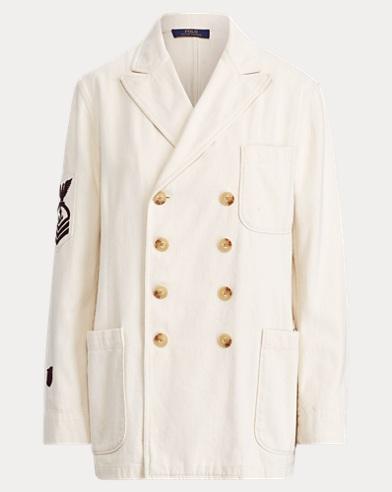폴로 랄프로렌 Polo Ralph Lauren Embroidered Cotton Blazer,Winter Cream