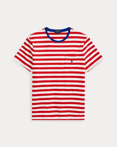폴로 랄프로렌 Polo Ralph Lauren Custom Slim Fit Pocket Tee,Cruise Red/White