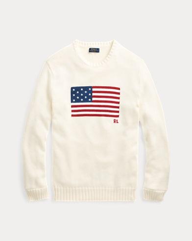 폴로 랄프로렌 Polo Ralph Lauren The Iconic Flag Sweater,Cream