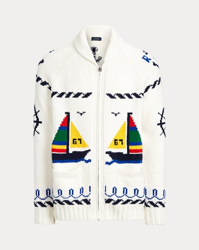 폴로 랄프로렌 Polo Ralph Lauren Cotton Full-Zip Sweater,White Sailboat Multi