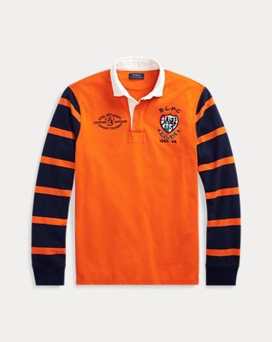 폴로 랄프로렌 Polo Ralph Lauren Classic Fit Cotton Rugby Shirt,Sailing Orange Multi
