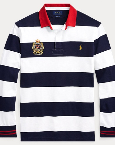 폴로 랄프로렌 Polo Ralph Lauren Classic Fit Striped Rugby,Cruise Navy/White