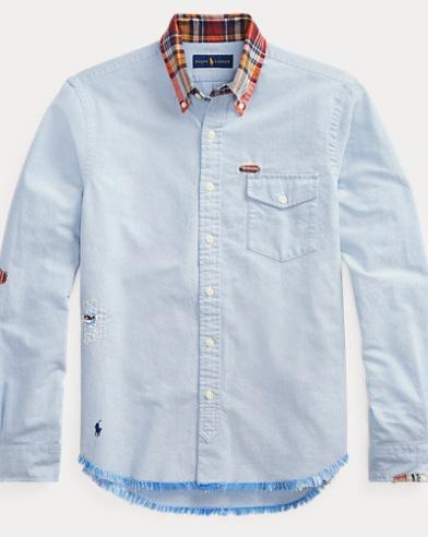 폴로 랄프로렌 Polo Ralph Lauren Classic Fit Distressed Shirt,Bsr Blue