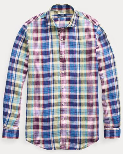 폴로 랄프로렌 체크 린넨 셔츠 (클래식 핏) Polo Ralph Lauren Classic Fit Plaid Linen Shirt,Blue/Magenta