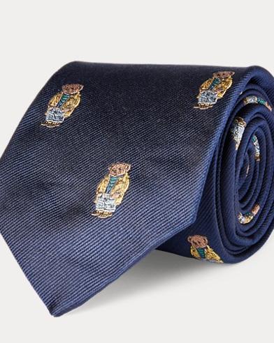 폴로 랄프로렌 Polo Ralph Lauren Slicker Bear Silk Narrow Tie,Navy