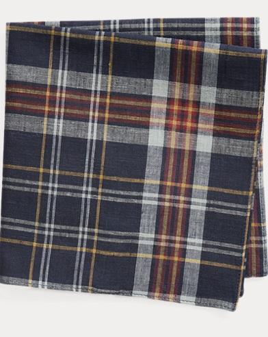 폴로 랄프로렌 Polo Ralph Lauren Cotton Madras Pocket Square,Indigo