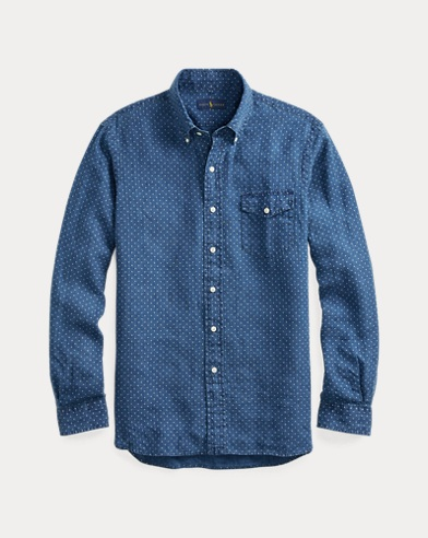 폴로 랄프로렌 Polo Ralph Lauren Classic Fit Star Linen Shirt,Indigo Star