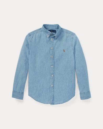폴로 랄프로렌 보이즈 셔츠 Polo Ralph Lauren Cotton Chambray Shirt,Lt Blue
