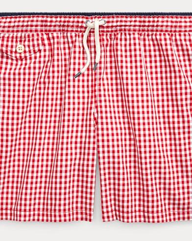 폴로 랄프로렌 Polo Ralph Lauren Traveler Gingham Swim Trunk,Red Multi