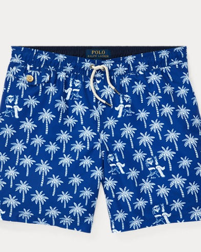 폴로 랄프로렌 Polo Ralph Lauren Traveler Polo Bear Swim Trunk,Palm Tree Deco