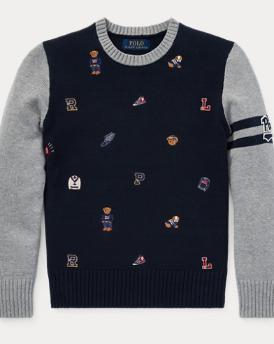 폴로 랄프로렌 Polo Ralph Lauren Embroidered Cotton Sweater,Andover Heather Multi