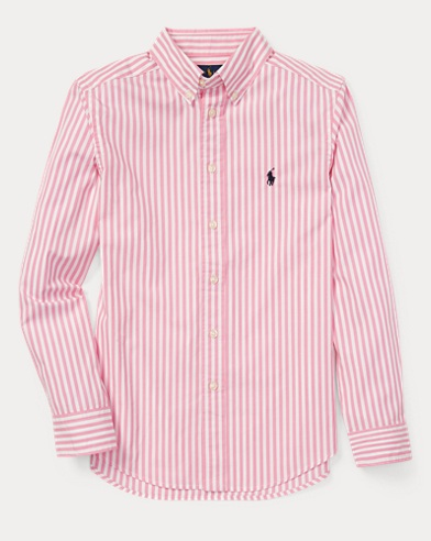 폴로 랄프로렌 Polo Ralph Lauren Striped Cotton Poplin Shirt,Pink Multi