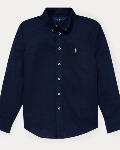 폴로 랄프로렌 Polo Ralph Lauren Slub Linen-Cotton Shirt,Newport Navy