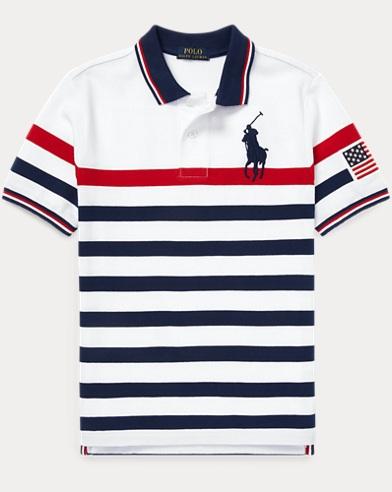 폴로 랄프로렌 Polo Ralph Lauren Striped Cotton Mesh Polo Shirt,White Multi