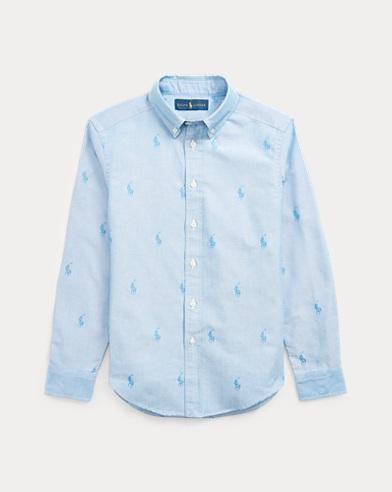 폴로 랄프로렌 Polo Ralph Lauren Allover-Pony Cotton Shirt,Blue Tonal Polo Pony