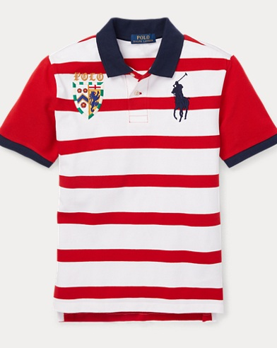 폴로 랄프로렌 Polo Ralph Lauren Striped Cotton Mesh Polo Shirt,Rl2000 Red Multi