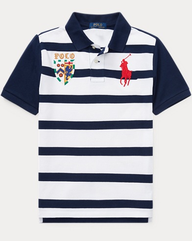 폴로 랄프로렌 Polo Ralph Lauren Striped Cotton Mesh Polo Shirt,Newport Navy Multi