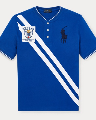 폴로 랄프로렌 Polo Ralph Lauren Striped Cotton Mesh Henley,Sapphire Star