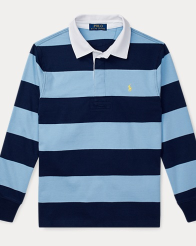 폴로 랄프로렌 Polo Ralph Lauren Striped Cotton Rugby Shirt,Collin Blue Multi