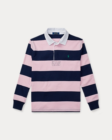 폴로 랄프로렌 Polo Ralph Lauren Striped Cotton Rugby Shirt,카멜 Carmel Pink Multi