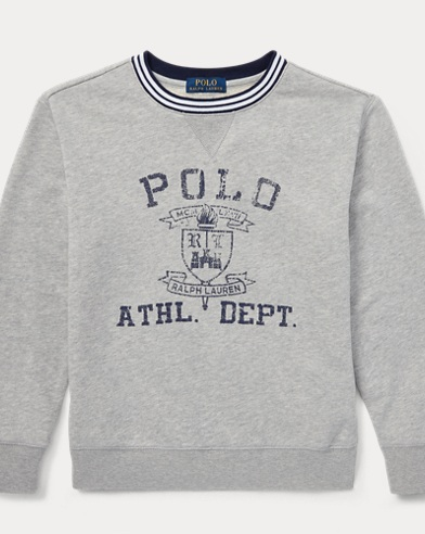 폴로 랄프로렌 Polo Ralph Lauren Twill Terry Graphic Sweatshirt,Andover Heather