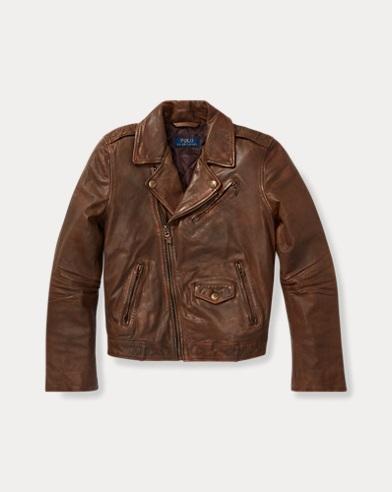 폴로 랄프로렌 자켓 Polo Ralph Lauren Leather Moto Jacket,Brown