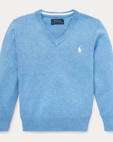 폴로 랄프로렌 Polo Ralph Lauren Cotton V-Neck Sweater,Soft Royal Heather